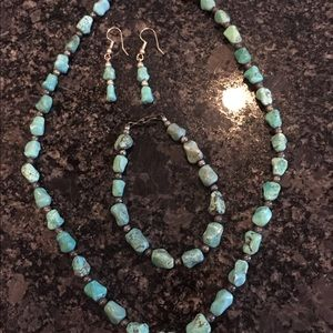 Turquoise necklace, bracelet, earrings